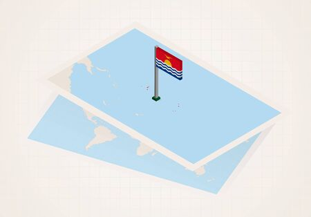 Kiribati selected on map with isometric flag of Kiribati. Vector paper map. Illustration