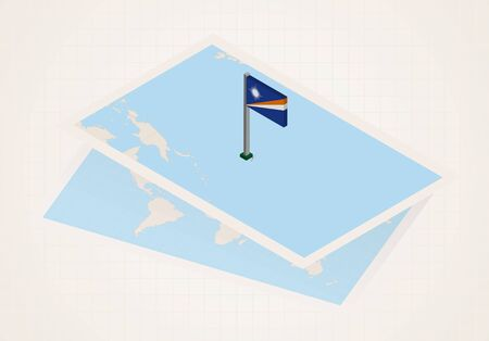 Marshall Islands selected on map with isometric flag of Marshall Islands. Vector paper map.