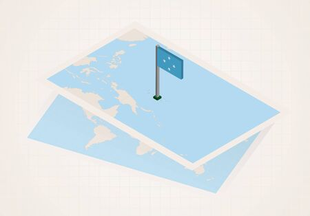Micronesia selected on map with isometric flag of Micronesia. Vector paper map.
