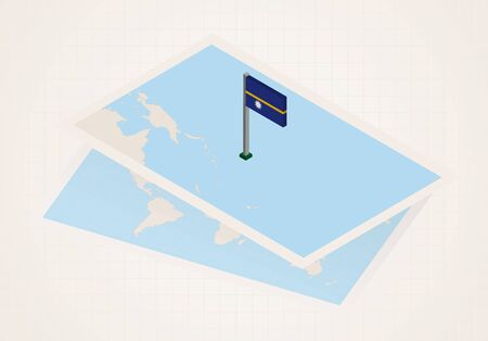 Nauru selected on map with isometric flag of Nauru. Vector paper map.
