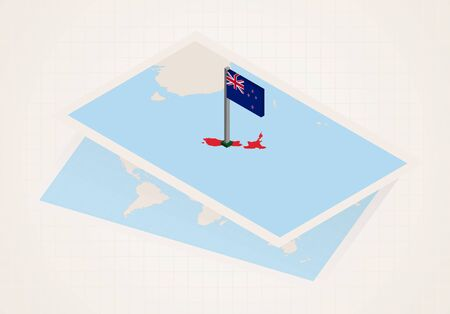 New Zealand selected on map with isometric flag of New Zealand. Vector paper map. Illustration
