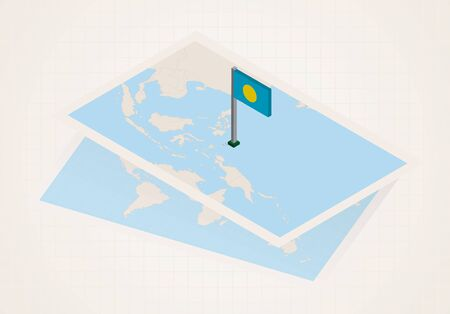 Palau selected on map with isometric flag of Palau. Vector paper map.