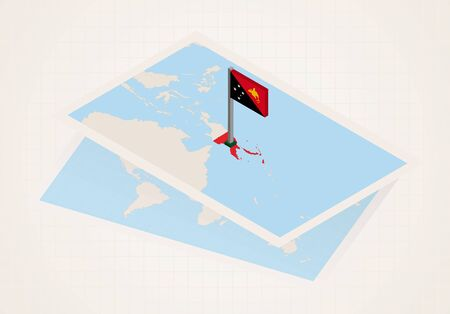 Papua New Guinea selected on map with isometric flag of Papua New Guinea. Vector paper map. Illustration