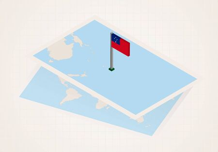 Samoa selected on map with isometric flag of Samoa. Vector paper map.