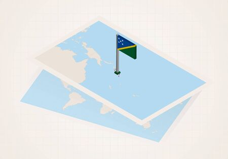 Solomon Islands selected on map with isometric flag of Solomon Islands. Vector paper map. Illustration