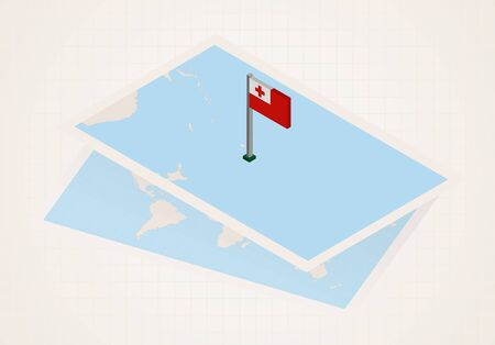 Tonga selected on map with isometric flag of Tonga. Vector paper map.