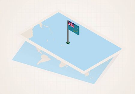Tuvalu selected on map with isometric flag of Tuvalu. Vector paper map. Illustration