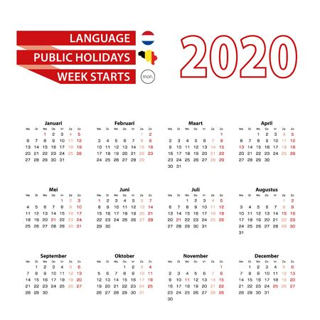 Calendar 2020 in Dutch language with public holidays the country of Belgium in year 2020. Week starts from Monday. Vector Illustration.