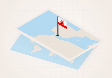 Gibraltar selected on map with isometric flag of Gibraltar. Vector paper map.