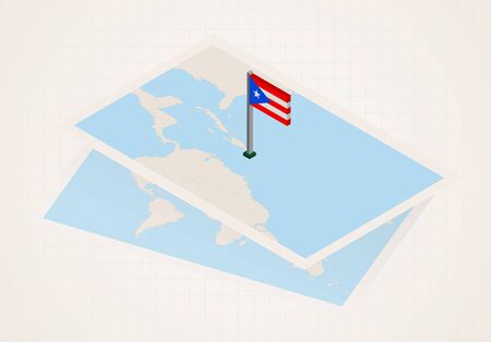 Puerto Rico selected on map with isometric flag of Puerto Rico. Vector paper map.