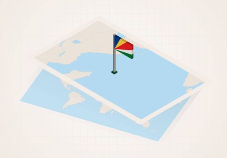 Seychelles selected on map with isometric flag of Seychelles. Vector paper map.