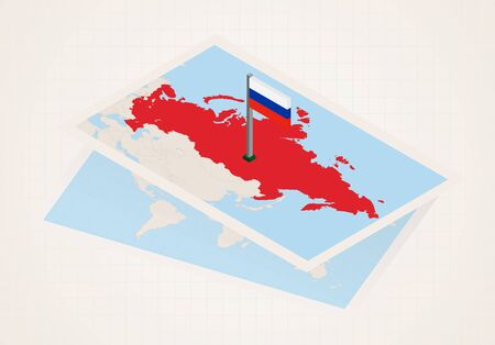 Russia selected on map with isometric flag of Russia. Vector paper map.