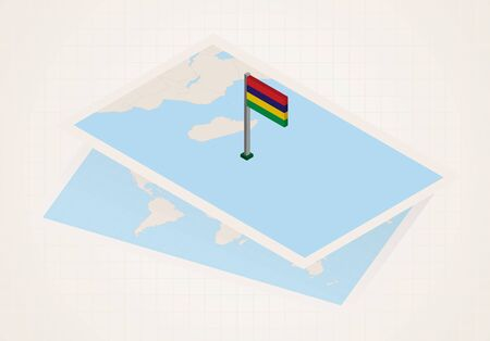 Mauritius selected on map with isometric flag of Mauritius. Vector paper map.