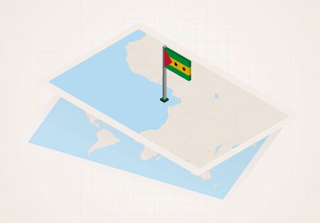 Sao Tome and Principe selected on map with isometric flag of Sao Tome and Principe. Vector paper map. 向量圖像