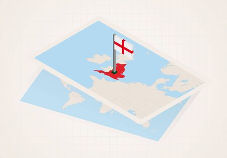 England selected on map with isometric flag of England. Vector paper map.