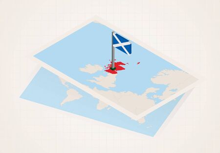Scotland selected on map with isometric flag of Scotland. Vector paper map. 向量圖像