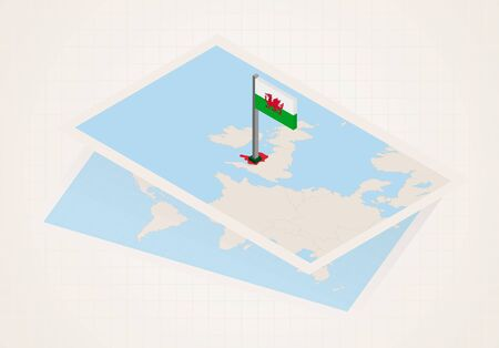 Wales selected on map with isometric flag of Wales. Vector paper map. 向量圖像