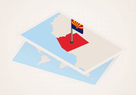 Arizona state selected on map with isometric flag of Arizona. Vector paper map.