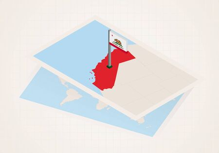 California state selected on map with isometric flag of California. Vector paper map.