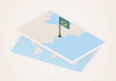 Delaware state selected on map with isometric flag of Delaware. Vector paper map. Ilustrace