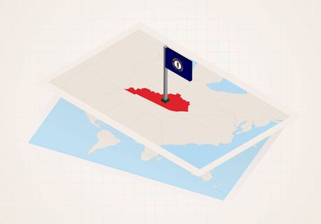 Kentucky state selected on map with isometric flag of Kentucky. Vector paper map.