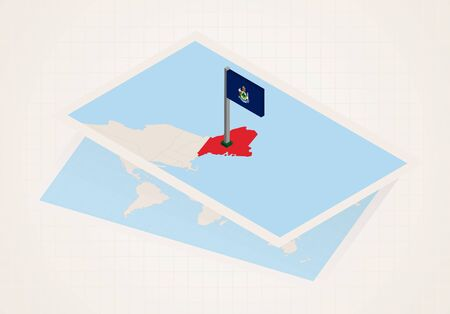 Maine state selected on map with isometric flag of Maine. Vector paper map. Ilustrace