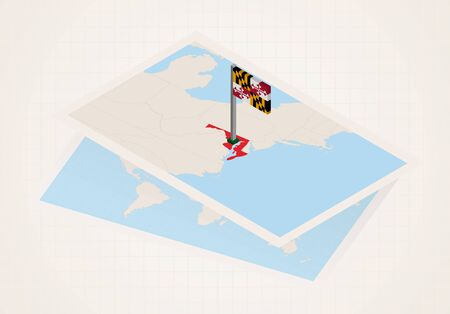 Maryland state selected on map with isometric flag of Maryland. Vector paper map. Ilustrace