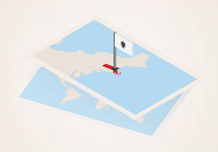 Massachusetts state selected on map with isometric flag of Massachusetts. Vector paper map.