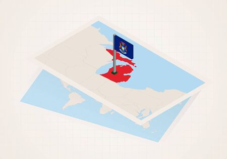 Michigan state selected on map with isometric flag of Michigan. Vector paper map. Ilustrace