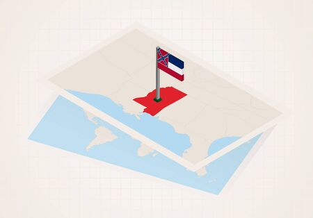 Mississippi state selected on map with isometric flag of Mississippi. Vector paper map.