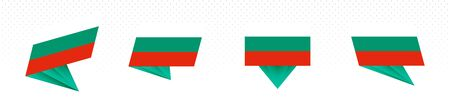 Flag of Bulgaria in modern abstract design, vector flag set. 向量圖像
