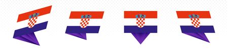 Flag of Croatia in modern abstract design, vector flag set.