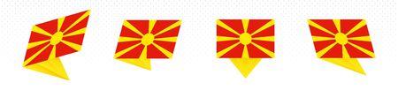 Flag of Macedonia in modern abstract design, vector flag set. Illustration