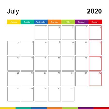 July 2020 colorful wall calendar, week starts on Monday. 2020 Calendar template. Çizim