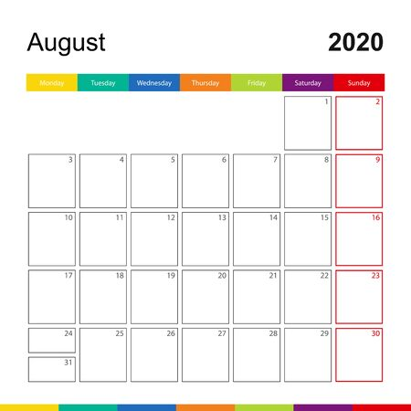 August 2020 colorful wall calendar, week starts on Monday. 2020 Calendar template.