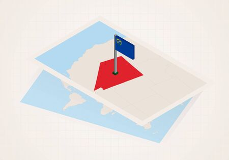 Nevada state selected on map with isometric flag of Nevada. Vector paper map. Ilustrace