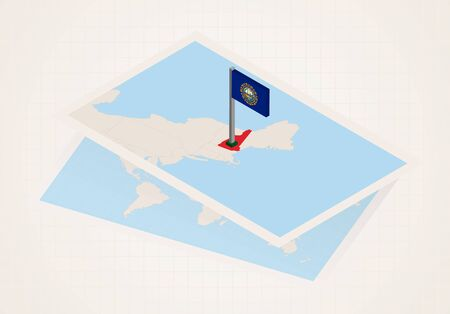 New Hampshire state selected on map with isometric flag of New Hampshire. Vector paper map. Ilustrace