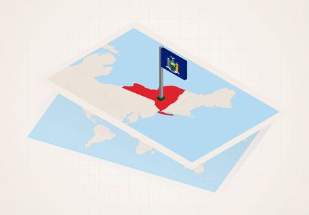 New York state selected on map with isometric flag of New York. Vector paper map. Illustration