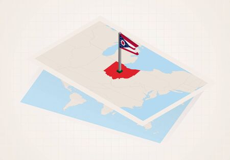 Ohio state selected on map with isometric flag of Ohio. Vector paper map.