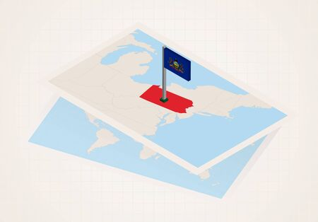Pennsylvania state selected on map with isometric flag of Pennsylvania. Vector paper map.