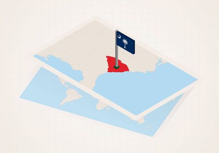 South Carolina state selected on map with isometric flag of South Carolina. Vector paper map. Illustration