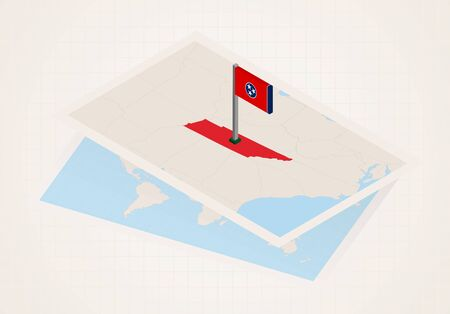 Tennessee state selected on map with isometric flag of Tennessee. Vector paper map.