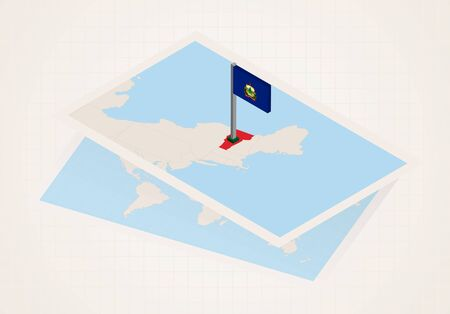 Vermont state selected on map with isometric flag of Vermont. Vector paper map. Foto de archivo - 133437146