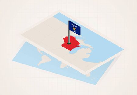 Wisconsin state selected on map with isometric flag of Wisconsin. Vector paper map. Banque d'images - 133437151