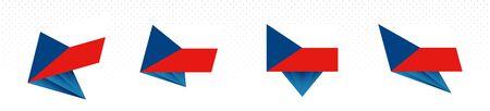 Flag of Czech Republic in modern abstract design, vector flag set. Stock Illustratie