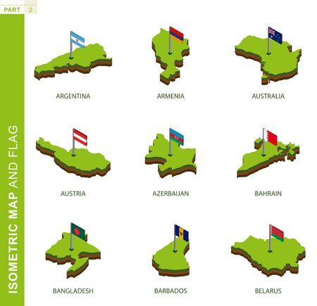 Set of 9 isometric map and flag, 3D vector isometric shape of Argentina, Armenia, Australia, Austria, Azerbaijan, Bahrain, Bangladesh, Barbados, Belarus Illusztráció