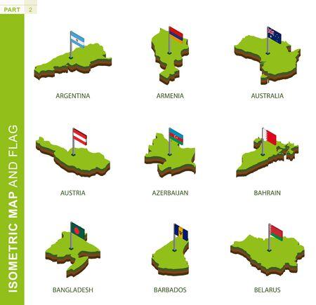 Set of 9 isometric map and flag, 3D vector isometric shape of Argentina, Armenia, Australia, Austria, Azerbaijan, Bahrain, Bangladesh, Barbados, Belarus Illustration