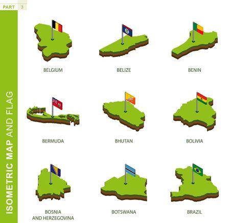 Set von 9 isometrischen Karten und Flaggen, 3D-Vektorisometrische Form von Belgien, Belize, Benin, Bermuda, Bhutan, Bolivien, Bosnien und Herzegowina, Botswana, Brasilien