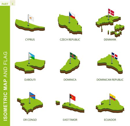 Set of 9 isometric map and flag, 3D vector isometric shape of Cyprus, Czech Republic, Denmark, Djibouti, Dominica, Dominican Republic, DR Congo, East Timor, Ecuador