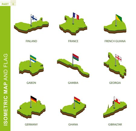 Set of 9 isometric map and flag, 3D vector isometric shape of Finland, France, French Guiana, Gabon, Gambia, Georgia, Germany, Ghana, Gibraltar